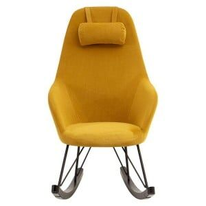 Kolding Yellow Fabric and Metal Rocking Chair with Headrest