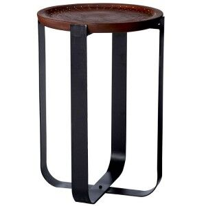 Templar Bronze Finish Wood and Black Iron Round Side Table