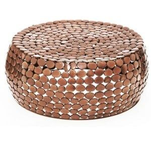 Templar Copper Finish Iron Round Pebble Effect Coffee Table