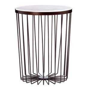 Templar Copper Metal and White Marble Round Side Table