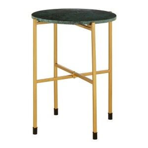 Templar Gold Finish Stainless Steel and Green Marble Top Side Table