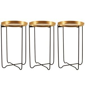 Templar Gold Finish Top Side Table with Black Iron Base Pair of 3