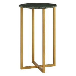 Templar Large Green Marble and Gold Finish Iron Round Side Table