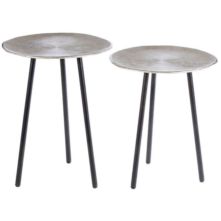 Templar Set Of Round Side Tables With Black Finish Iron Tapered Legs