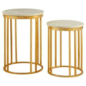 Templar Set of 2 Linear Design Gold Metal and White Marble Side Tables