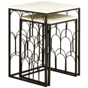 Templar Set of 2 White Marble Tops and Black Iron Side Tables