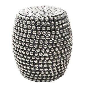 Templar Silver Finish Iron Beaded Barrel Design Stool