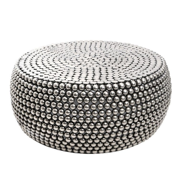Templar Silver Finish Iron Round Beaded Coffee Table