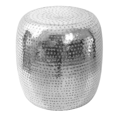 Templar Silver Finish Metal Barrel Design Side table