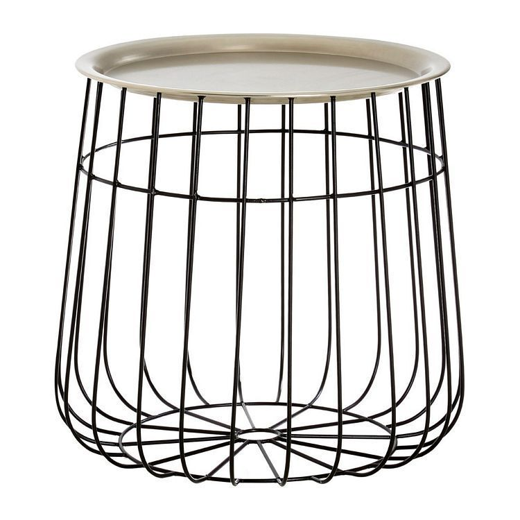 Templar Silver Finish and Black Wire Detail Metal Side Table