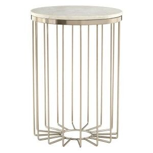 Templar White Marble Cage Design Gold Finish Iron Round Side Table