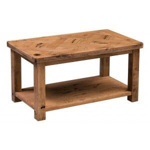 Aztec Solid Oak Furniture Rustic Coffee Table With Shelf