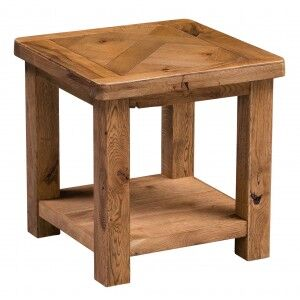 Aztec Solid Oak Furniture Rustic Lamp Table with Shelf