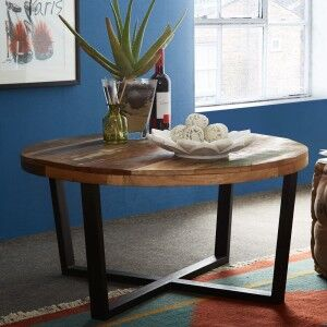 Coastal Reclaimed Wood Furniture Round Coffee Table
