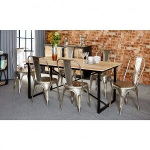 Cosmo Industrial Furniture 6ft Dining Table & 6 Chairs