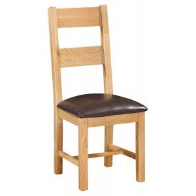 Devonshire Dorset Oak Furniture Ladder Back Dining Chair Pair