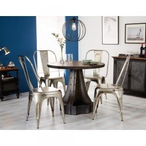 Evoke Industrial Furniture Round Dining Table & 4 Chairs
