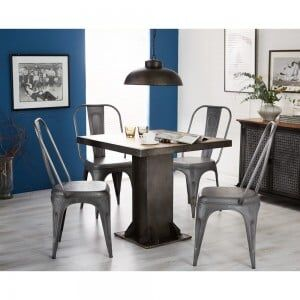 Evoke Industrial Furniture Square Dining Table & 4 Chairs