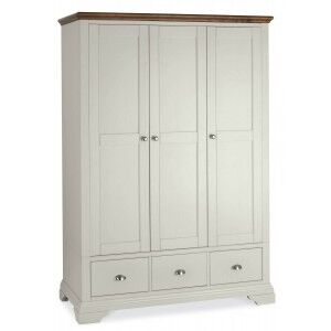 Hampstead Soft Grey & Walnut Furniture Triple Wardrobe