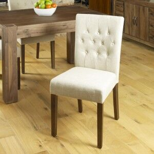 Mayan Walnut Furniture Cream Fabric Dining Table Chair Pair
