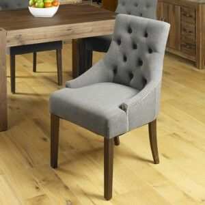 Mayan Walnut Furniture Upholstered Grey Fabric Dining Table Chair Pair