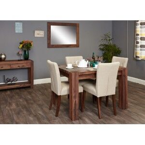 Mayan Walnut Furniture 4 Seater Dining Table With 4 Cream Chairs Set