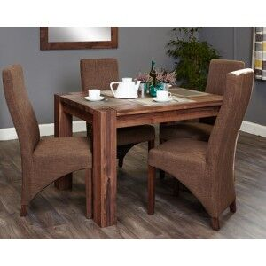 Mayan Walnut Furniture 4 Seater Dining Table With 4 Hazelnut Chairs