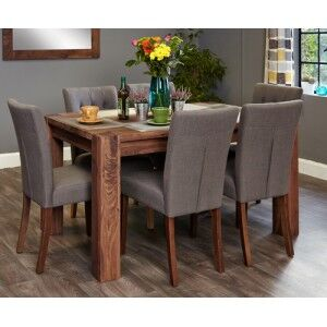 Mayan Walnut Furniture 6 Seater Dining Table & Grey Dining Chair Set