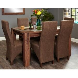 Mayan Walnut Furniture 6 Seater Dining Table With Hazelnut Chair Set