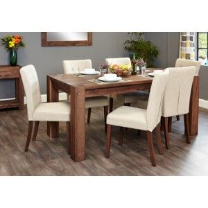Mayan Walnut Furniture 8 Seater Dining Table & Cream Dining Chair Set