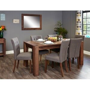 Mayan Walnut Furniture 8 Seater Dining Table & Grey Dining Chair Set