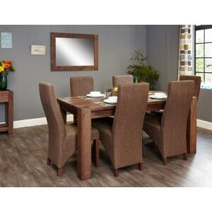 Mayan Walnut Furniture 6 Seater Dining Table & Hazelnut Chair Set