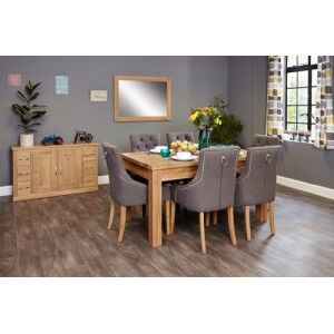 Mobel Oak Furniture Extending Dining Table & Six Grey Fabric Chair Set