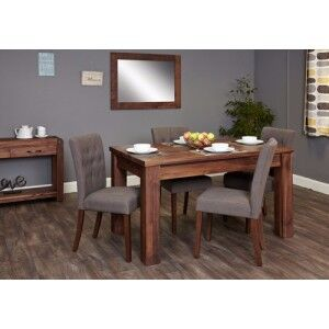 Mayan Walnut Furniture Extending Dining Table & Grey Chair Set