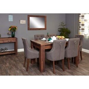 Mayan Walnut Furniture Extending Dining Table & Upholstered Chair Set