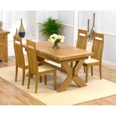 Avignon Oak Furniture 160cm Extending Table & 4 Monte Carlo Set