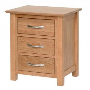 Devonshire New Oak Furniture 3 Drawer Bedside Cabinet