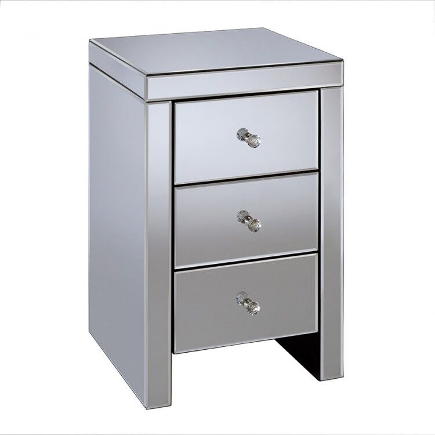 Birlea Seville Mirrored Furniture 3 Drawer Bedside
