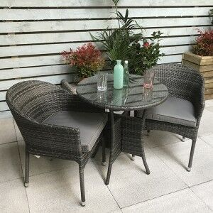 Signature Weave Garden Emily Grey 70cm 2 Seat Stacking Bistro Set