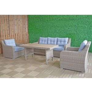 Signature Weave Garden Furniture Elizabeth 5 Seat Sofa Set with Coffee Table