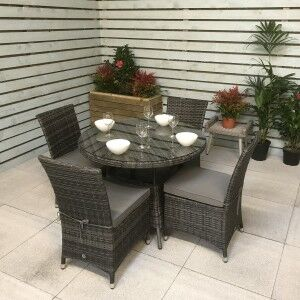 Signature Weave Garden Furniture Emily Grey 4 Seat Armless Round Dining Set