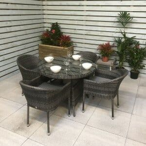 Signature Weave Garden Furniture Emily Grey 4 Seat Round Dining Set