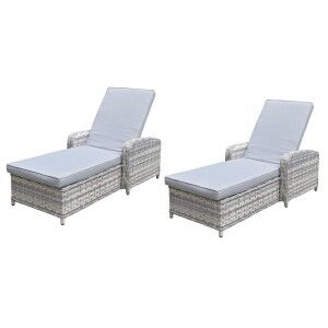 Signature Weave Garden Furniture Constance Pair of Silver Grey Sun Loungers