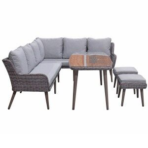 Signature Weave Garden Furniture Danielle Corner Dining Sofa Set with Ottomans