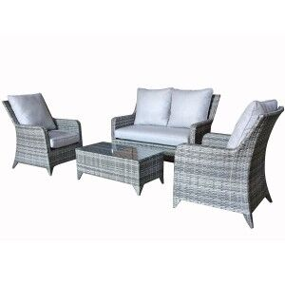 Signature Weave Garden Furniture Sarah Grey High Back 4 Seater Sofa Set