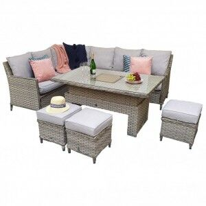 Signature Weave Garden Edwina Special Grey Corner Dining Set with Lift Table & Ice Bucket