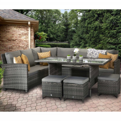 Signature Weave Garden Furniture Charlotte Corner Dining Sofa Set in Grey