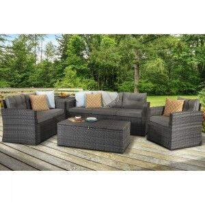 Signature Weave Garden Furniture Holly Grey 5 Piece Sofa Set