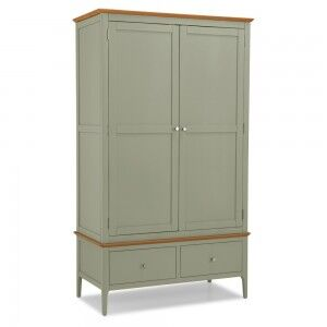 Berlin Painted Oak Furniture Double Wardrobe with 2 Drawers