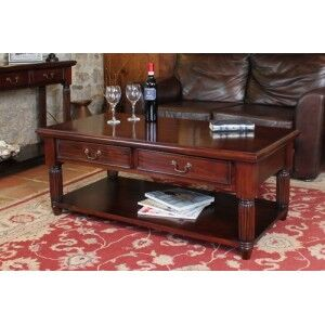 La Roque Mahogany Furniture Coffee Table With Drawers